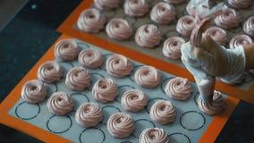 Pasteleiro da seringa para empurrar a massa na bandeja para um marshmallow vídeos de arquivo