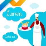 Pasteleiro Hold do cozinheiro chefe em Tray Fresh Festive Cake ilustração do vetor