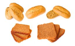 Pasteles - baguette de la aptitud y pan integral Foto de archivo libre de regalías