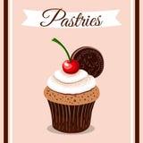 Pasteles Cherry Cupcake ilustración del vector