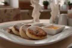Pasteles de queso del desayuno Foto de archivo