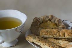 Pasteles del té verde de la comida sana, galletas Imagen de archivo libre de regalías