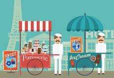 Pasteles del vintage y vendedor del helado en París /illustration Imágenes de archivo libres de regalías