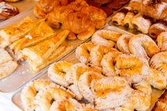Pasteles mediterráneos del wseet de la panadería Fotografía de archivo