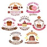 Pasteles, panadería, símbolos de la tienda de la torta en estilo retro Imágenes de archivo libres de regalías