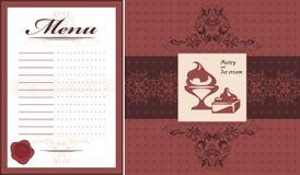 Pasteles y helado Plantilla y etiqueta de la tarjeta del menú para el diseño Fotografía de archivo