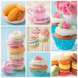 Pastelkleur gekleurde cakescollage Stock Foto
