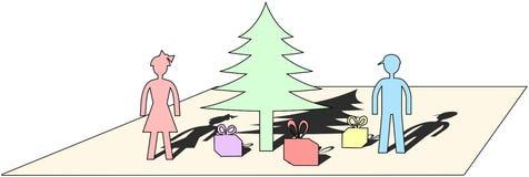 Pastelkleur gekleurde eenvoudige Kerstmis beweging veroorzakende besnoeiing van document Stock Foto