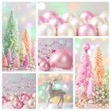 Pastelkleur gekleurde Kerstmisdecoratie Stock Fotografie
