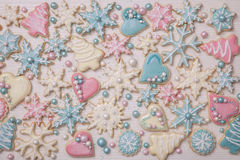 Pastelkleur gekleurde koekjes Stock Afbeelding