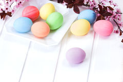Pastelkleur Gekleurde Paaseieren Stock Afbeelding
