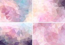 Pastelkleur roze lage polyachtergronden, vectorreeks Royalty-vrije Stock Afbeeldingen