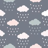 Pastelkleur van wolken en regendruppels naadloos patroon stock illustratie