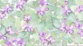 Pastelkleurachtergrond met lilac bloemen Stock Foto's