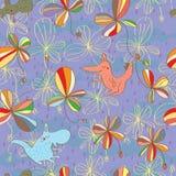 Pastelkleurplant dierlijk naadloos patroon Royalty-vrije Stock Afbeeldingen