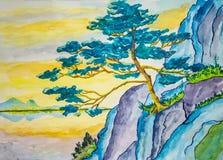 Pastelkleurwaterverf het schilderen van een Japanse pijnboomboom royalty-vrije stock fotografie