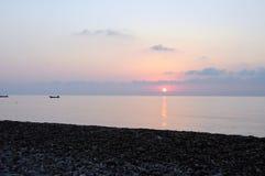 Pastelkleurzonsopgang op Cirali-Strand royalty-vrije stock foto's