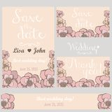 Pastell blommar bröllopinbjudan kortet tackar dig Fotografering för Bildbyråer