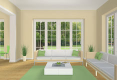 Pastell colored living room. Fictitious living room with yellow an green colors and view to a beautiful park Royalty Free Stock Photos