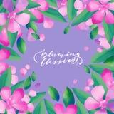 Pastell färgad design med oleanderblommor stock illustrationer