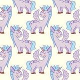 Pastell färgad hand dragen sömlös modell för enhörningar vektor illustrationer