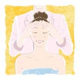 Pastell-färgad illustration av en ung le kvinna med stängt stock illustrationer