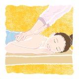 Pastell-färgad illustration av en ung le kvinna med stängt royaltyfri illustrationer
