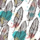 Pastell färgad sömlös bakgrund för fjäder stock illustrationer