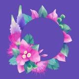 Pastell färgade design med exotiska sidor och blommor vektor illustrationer
