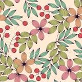 Pastell färgade eleganta sidor och blommor och bär den sömlösa modellen, vektor royaltyfri illustrationer