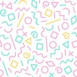 Pastell färgade memphis abstrakta geometriska former den sömlösa modellen, vektor vektor illustrationer