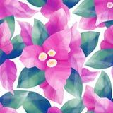 Pastell färgade modellen av exotiska sidor och blommor royaltyfri illustrationer