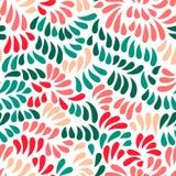 Pastell färgade stiliserade blommor och sidor sömlös modell, vektor Arkivfoto