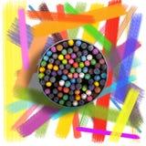 Pastell, färgpennor och borstad bakgrund Arkivbild