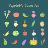Pastell- Farbe-silhoette lokalisierte Gemüseikonensatz Stockbild
