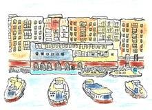 Pastell- och eyelinerHamburg port skissar vektor illustrationer