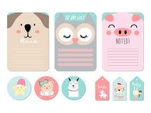 Pastell som är tryckbar med björnen, uggla, svin, stjärna, tiger, kanin, enhörning in stock illustrationer