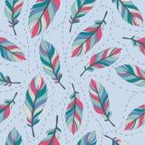 Pastell versieht nahtlosen Hintergrund 5 mit Federn stock abbildung
