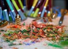 Pastellbleistift-Schnitzel Stockfotos