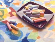 Pastelle und Pastellhintergrund Stockfotos