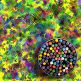 Pastelle, Zeichenstifte und gebürsteter Hintergrund Stockbild