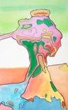 Pastellfärgad abstrakt konst för blandat massmedia Arkivbild