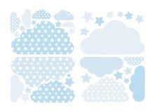 Pastellfärgad blå moln- och stjärnavektorsamling med stjärnor för ungar Ber?knande garneringpacke f?r moln Baby showerklisterm?rk stock illustrationer