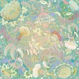 Pastellfärgad blom- design på beige bakgrund Arkivbild