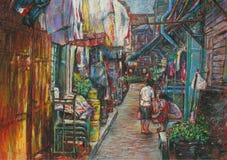 Pastellfärgad cityscape av en gemenskap i en liten gränd royaltyfri fotografi
