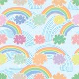 Pastellfärgad färgrik sömlös modell för regnbågemoln stock illustrationer