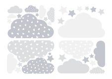Pastellfärgad grå moln- och stjärnavektorsamling med hjärtor för ungar Ber?knande garneringpacke f?r moln Baby showerklisterm?rke stock illustrationer