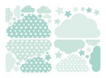 Pastellfärgad grön moln- och stjärnavektorsamling med stjärnor för ungar Ber?knande garneringpacke f?r moln Baby showerklisterm?r vektor illustrationer