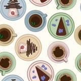 Pastellfärgad modell för te och för kaffe och för kakor vektor illustrationer