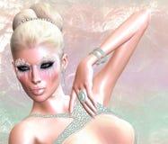 Pastellfärgad prinsessa Snöflingor och is skapar de unika skönhetsmedlen Arkivfoton